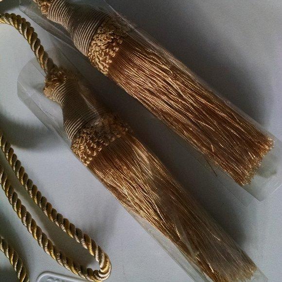 "Curtain Tie Back Tassels 20"" Goldtone Two"